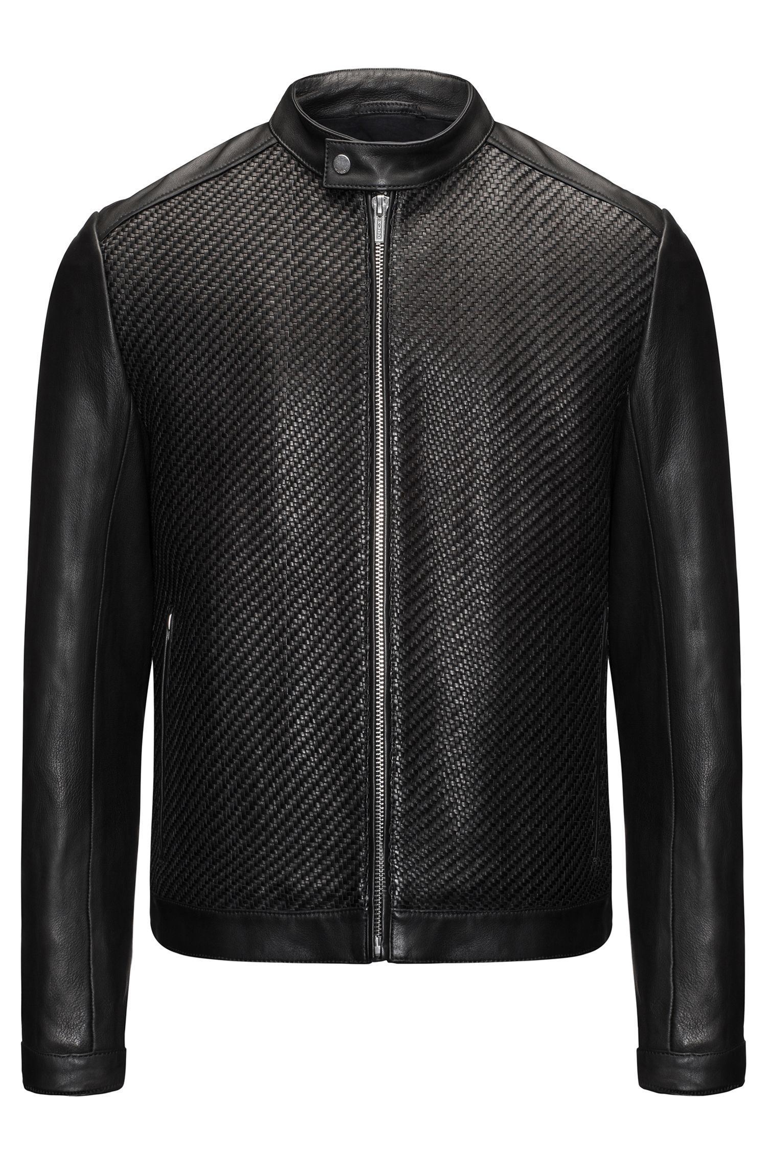 Slim-fit leather jacket with hand-woven panels