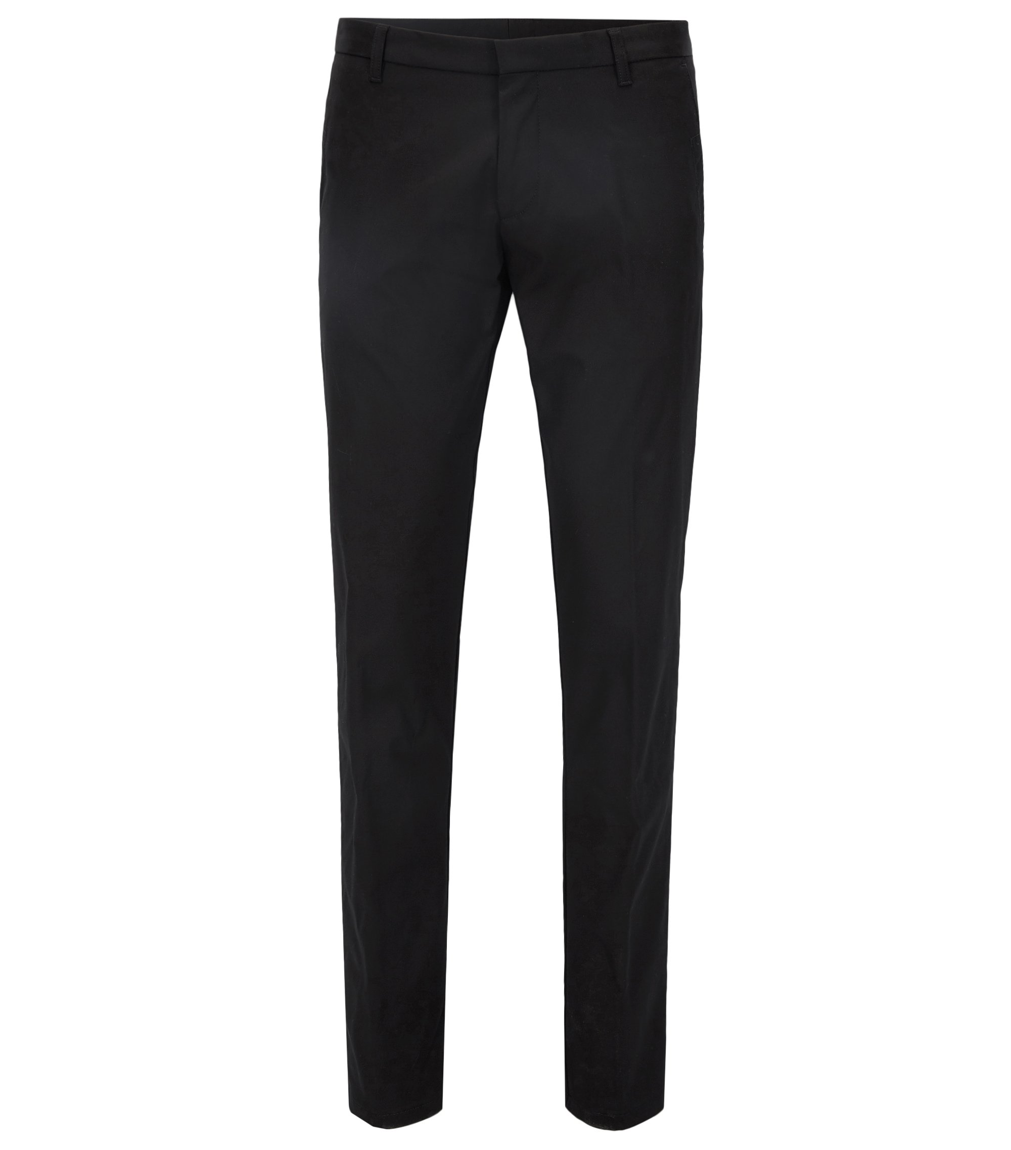 Extra-slim-fit trousers in pima cotton, Black