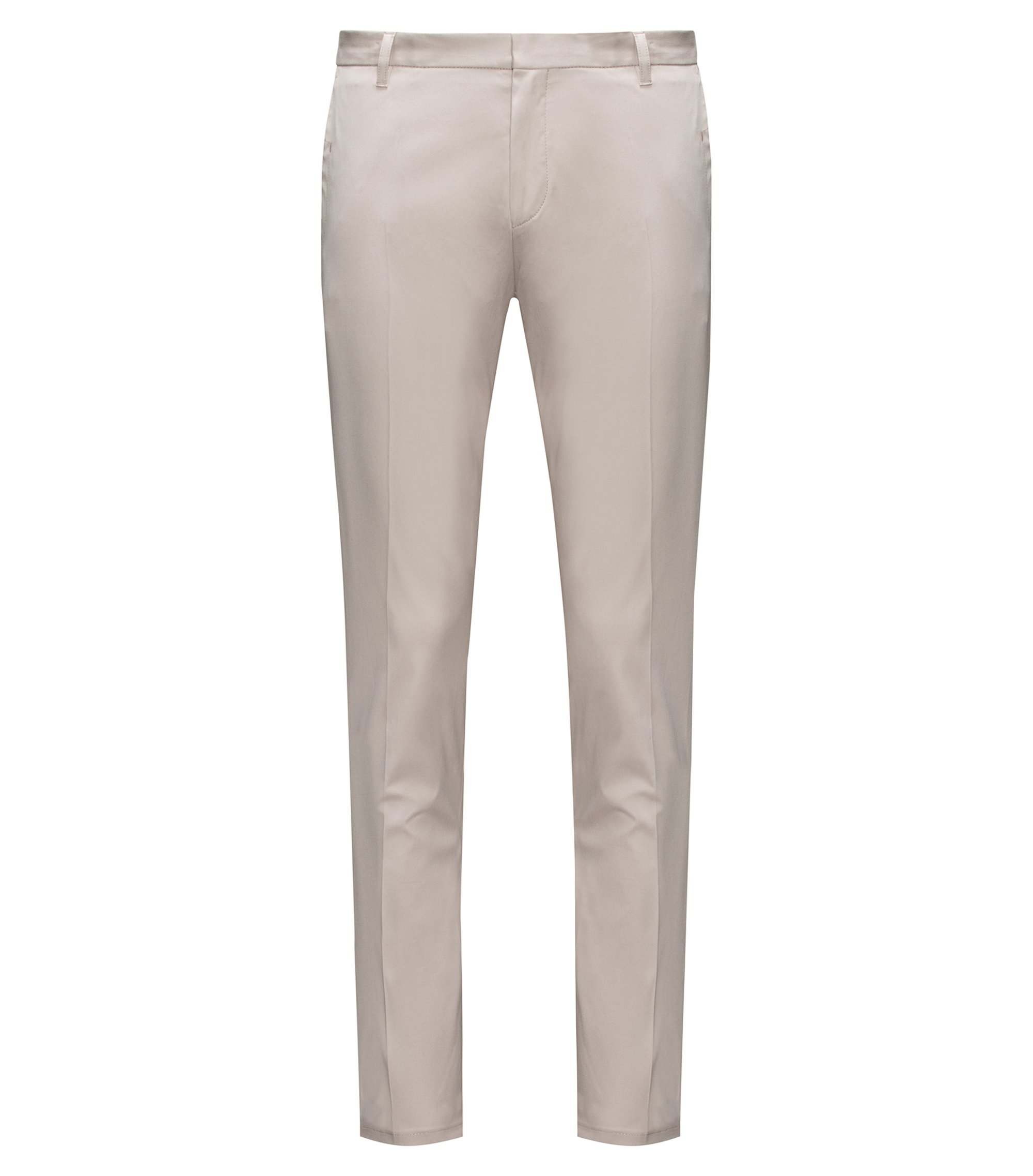 Extra-slim-fit trousers in pima cotton, Light Brown
