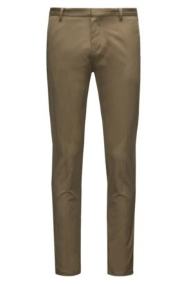 Pantaloni extra slim fit in cotone Pima, Verde scuro
