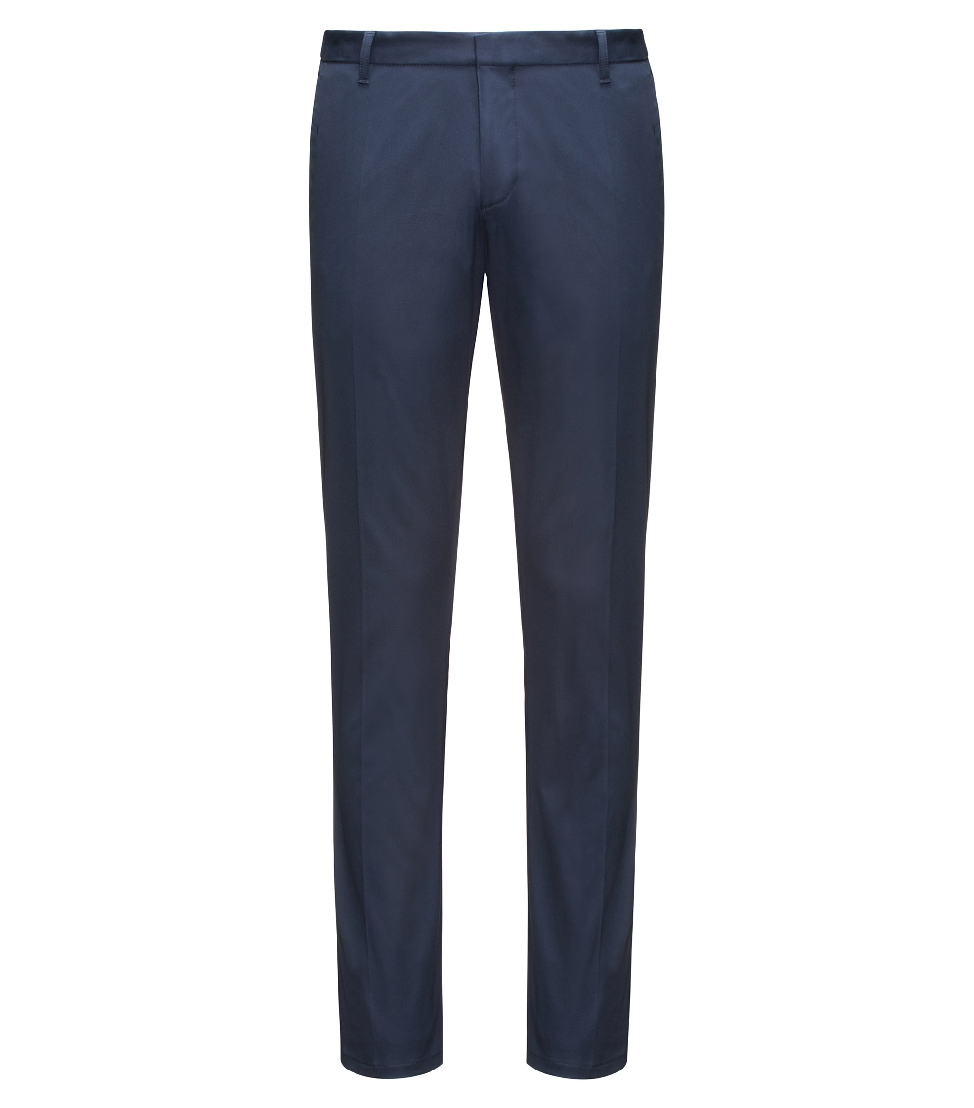 Extra-slim-fit trousers in pima cotton, Dark Blue