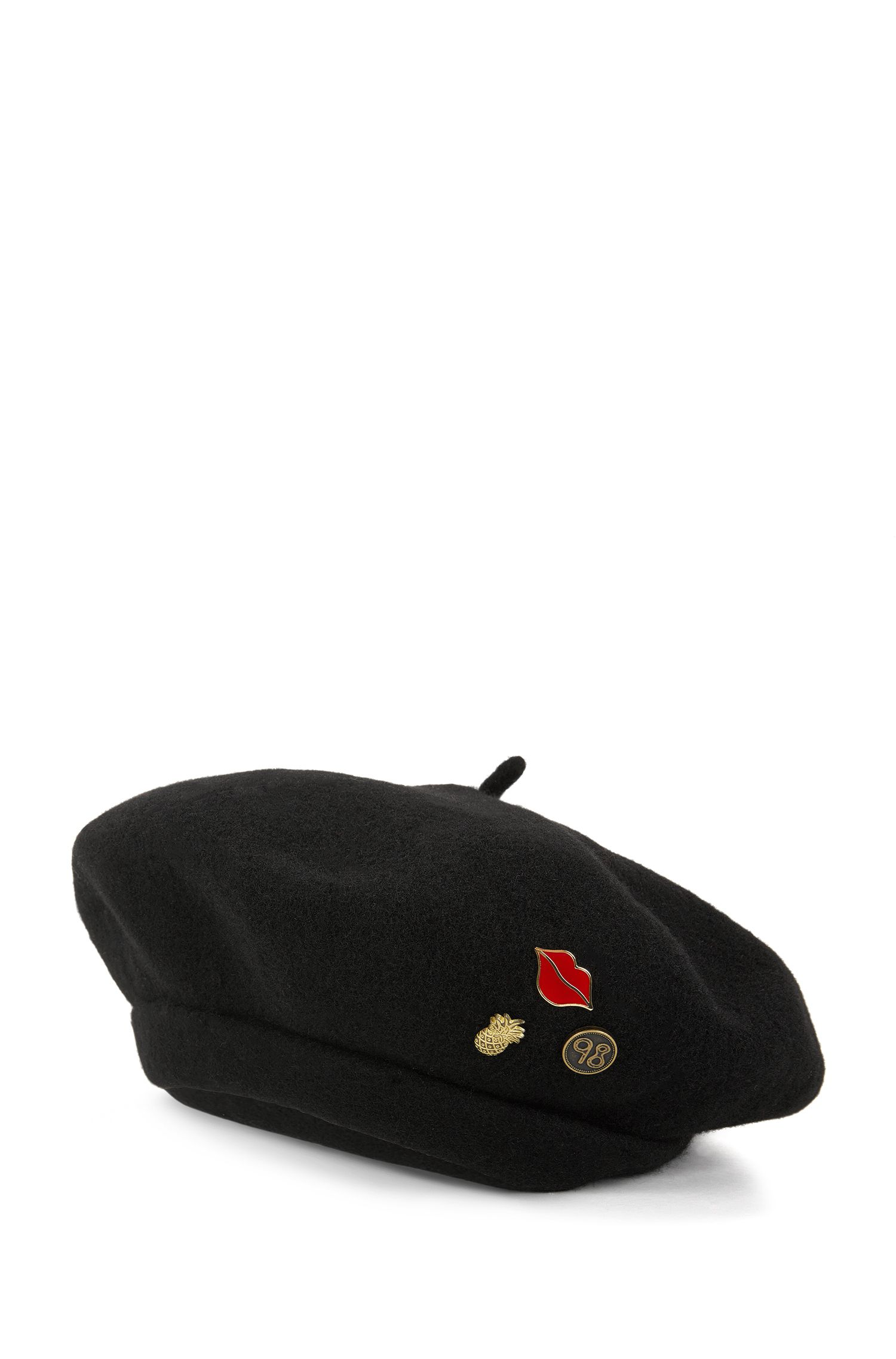 Wool beret with detachable pins
