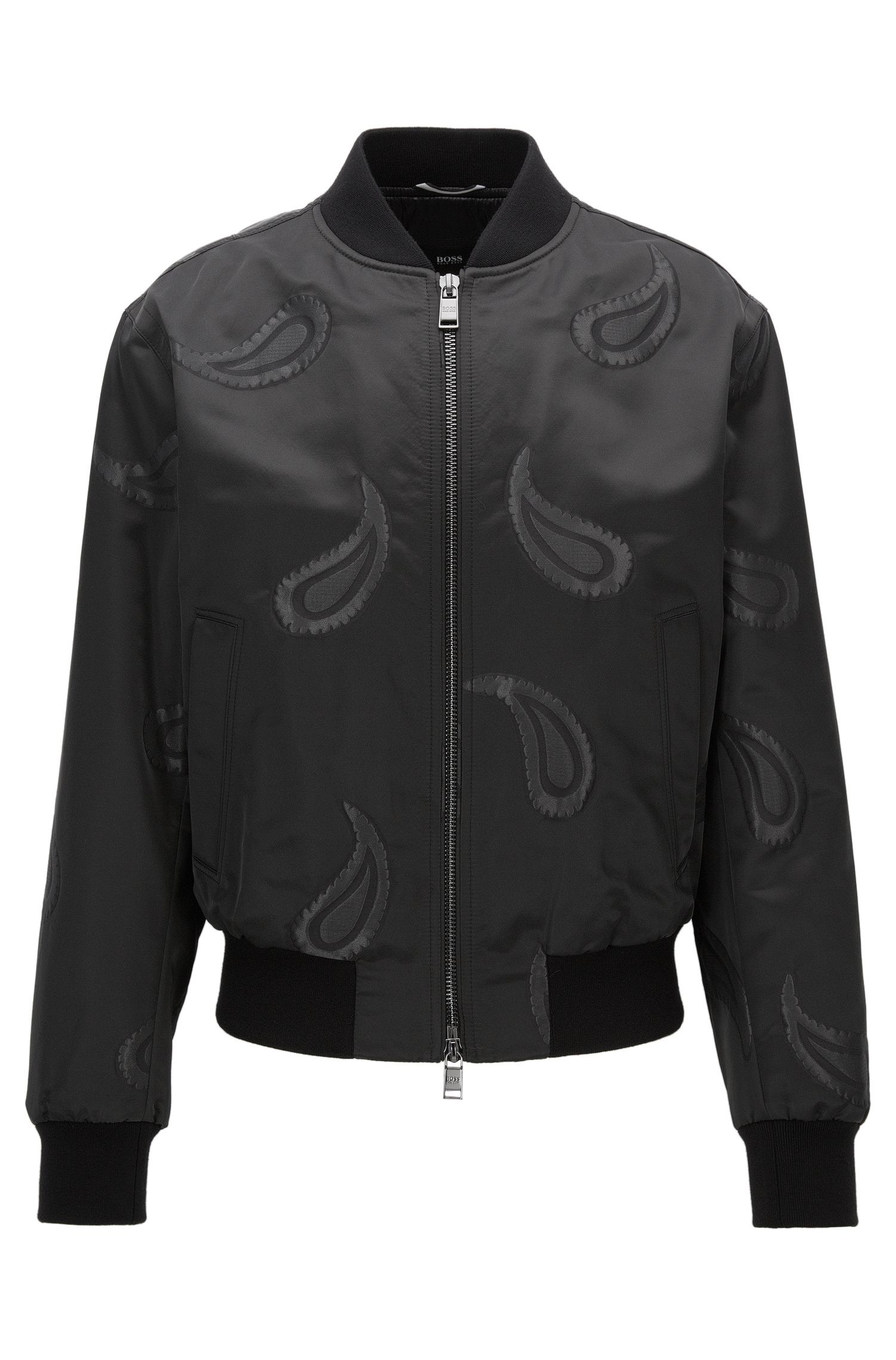 Regular-fit bomber jacket in a technical blend