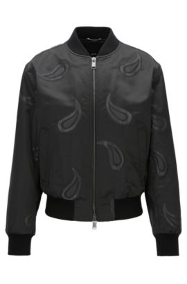 Bomber regular fit in tessuto tecnico misto, Nero