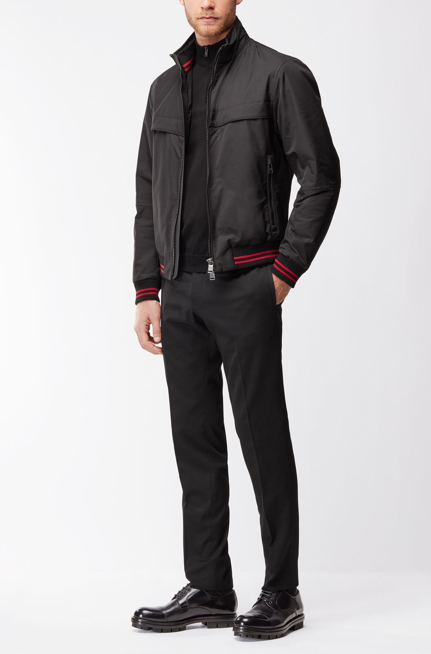 Regular-fit blouson jacket in technical fabric