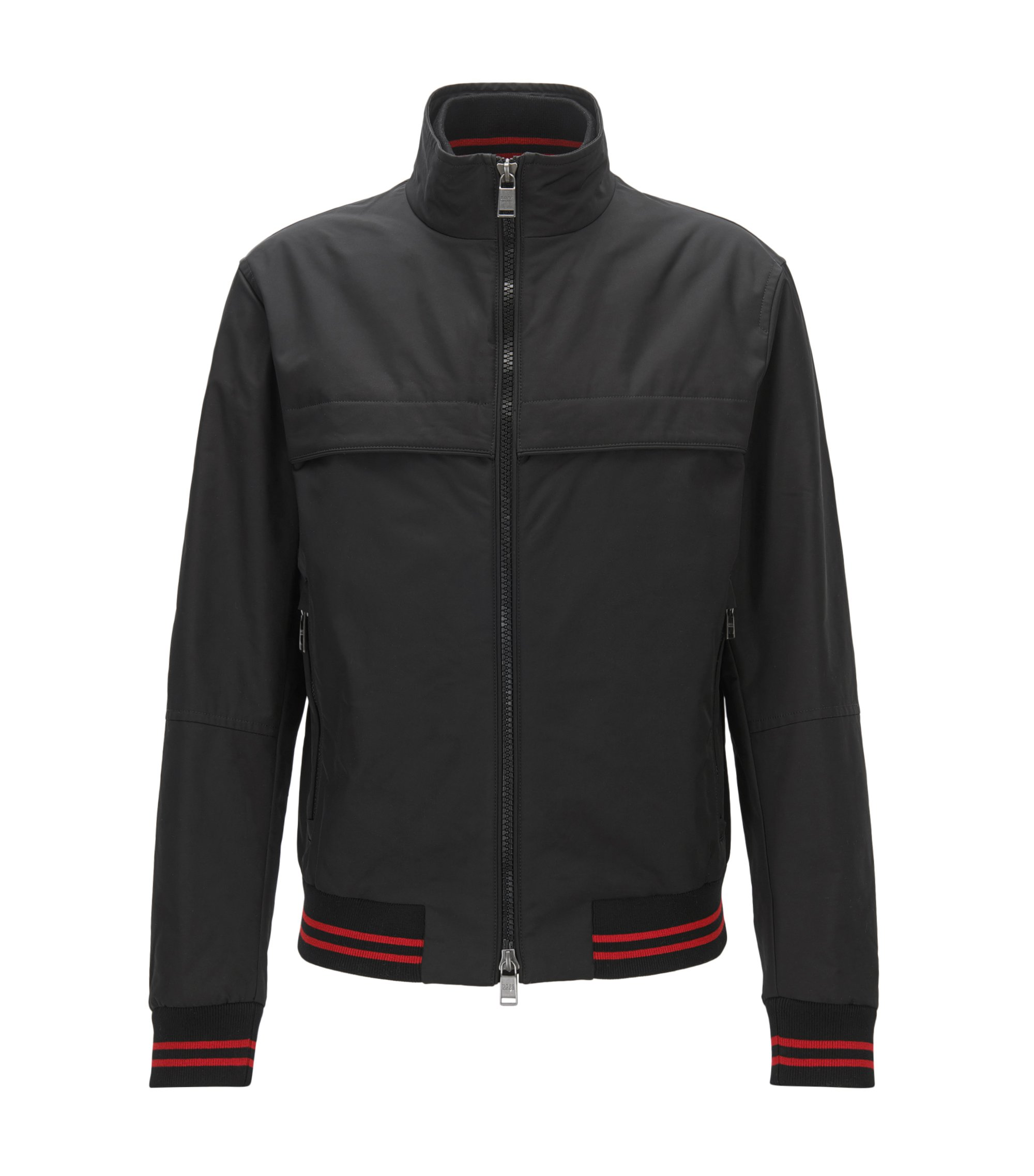 Regular-fit blouson jacket in technical fabric, Black