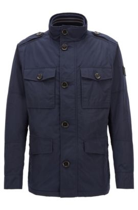 Regular-fit utility jacket in water-repellent fabric, Dark Blue