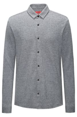 Extra-slim-fit shirt in soft cotton, Grey