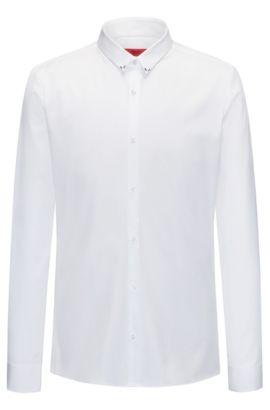 Camisa slim fit en popelín de algodón, Blanco