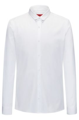 Slim-fit shirt in cotton poplin, White