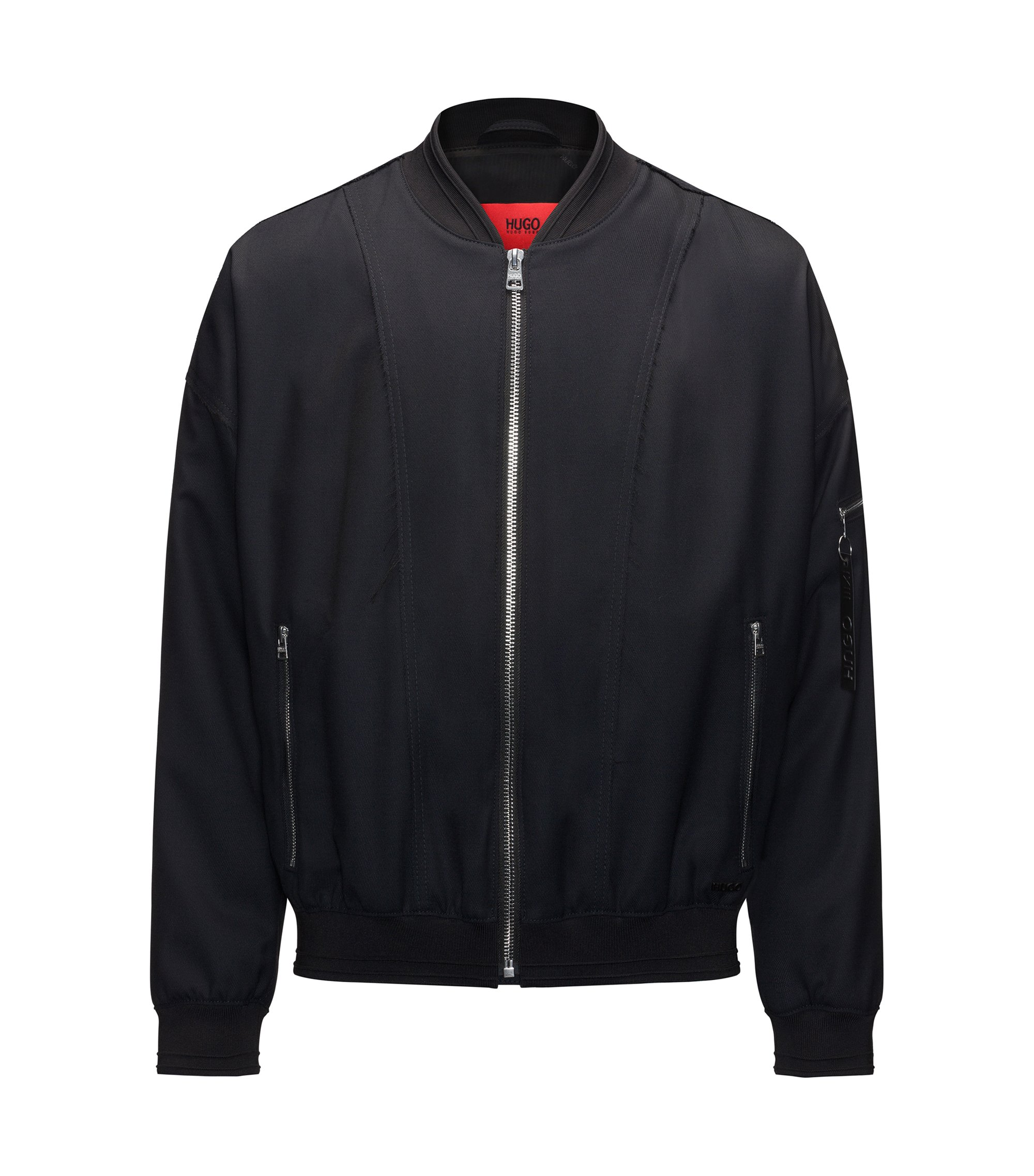 Relaxed-fit bomber jacket in a wool blend, Dark Blue