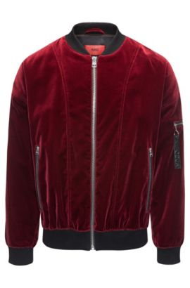 Velvet bomber jacket in an oversized fit, Dark Red