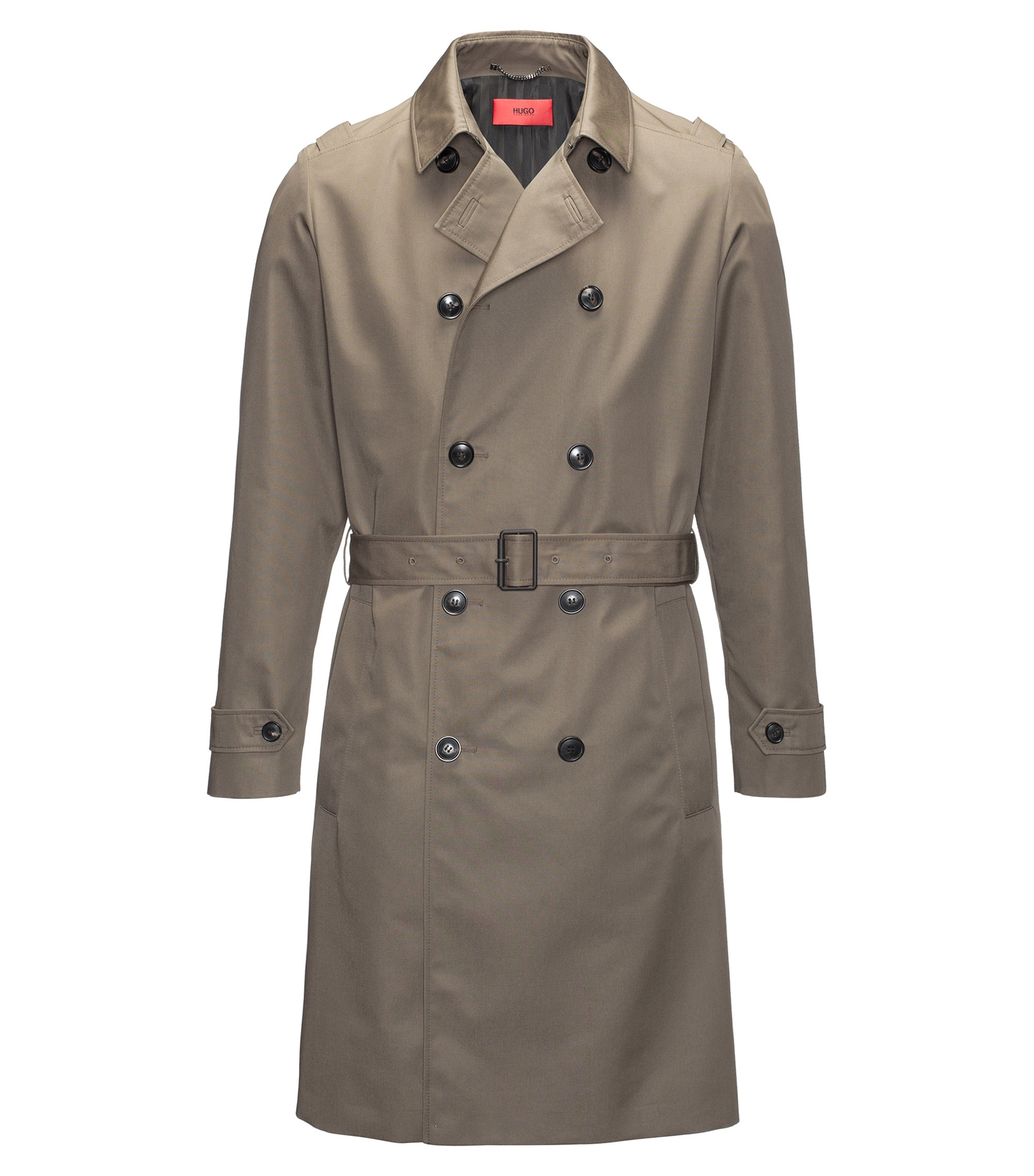 Regular-fit water-repellent technical trench coat, Dark Green