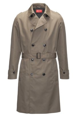 Trench regular fit in tessuto tecnico idrorepellente, Verde scuro