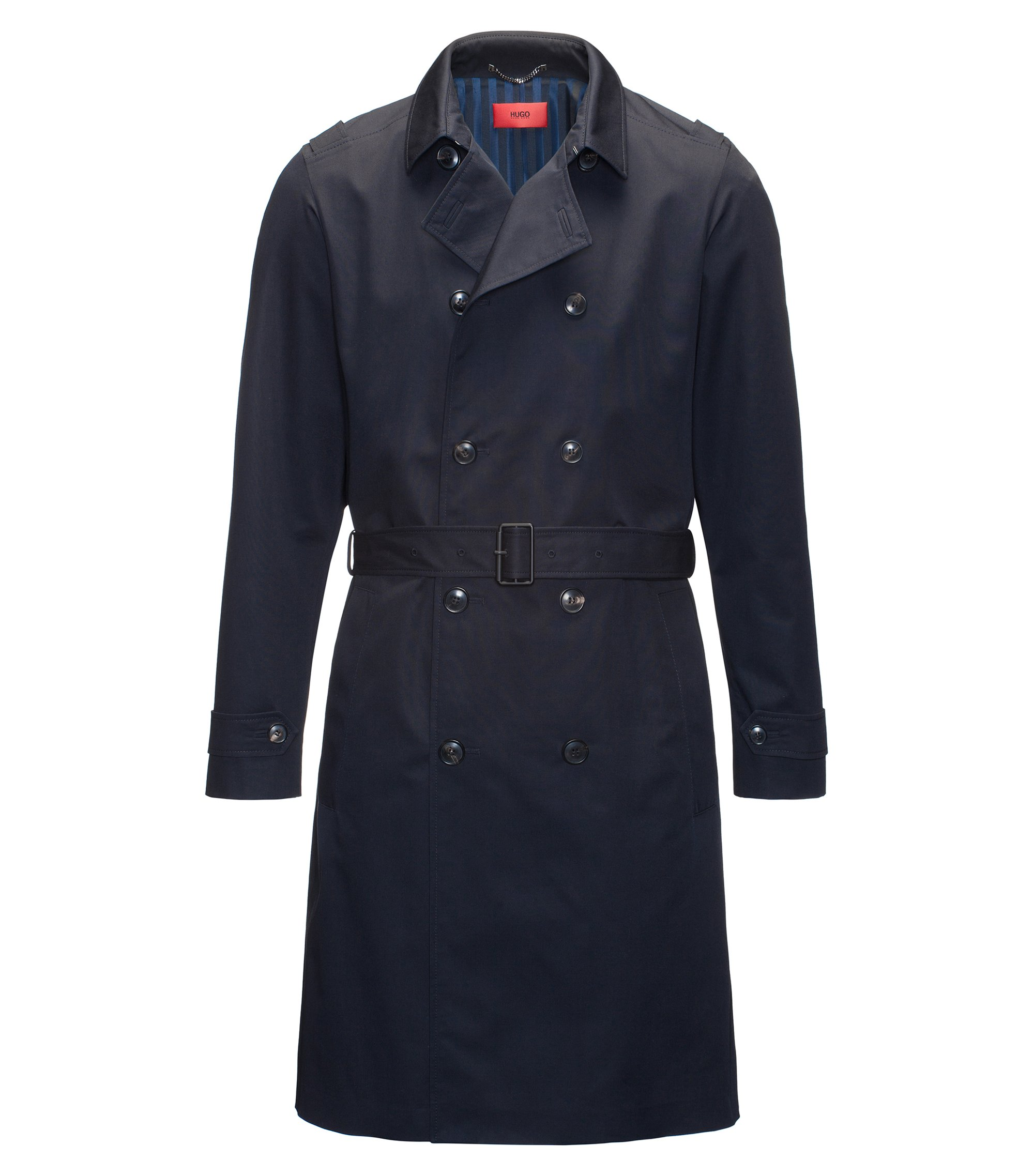 Trench regular fit in tessuto tecnico idrorepellente, Blu scuro