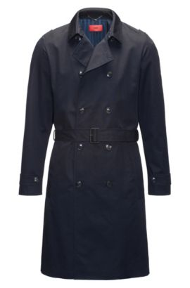 Regular-fit water-repellent technical trench coat, Dark Blue