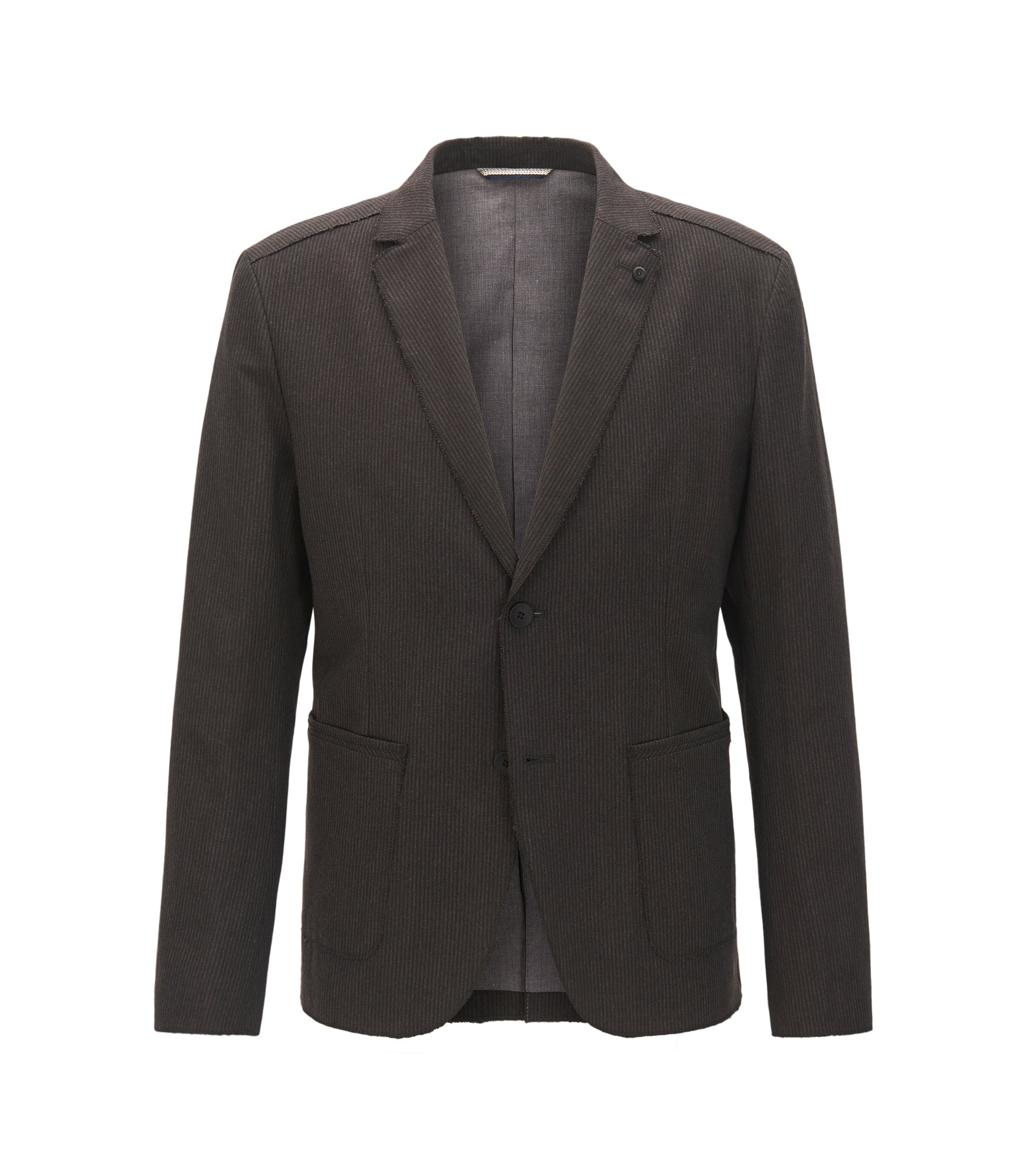 Slim-fit striped jacket in Italian fabric with raw edges, Dark Brown