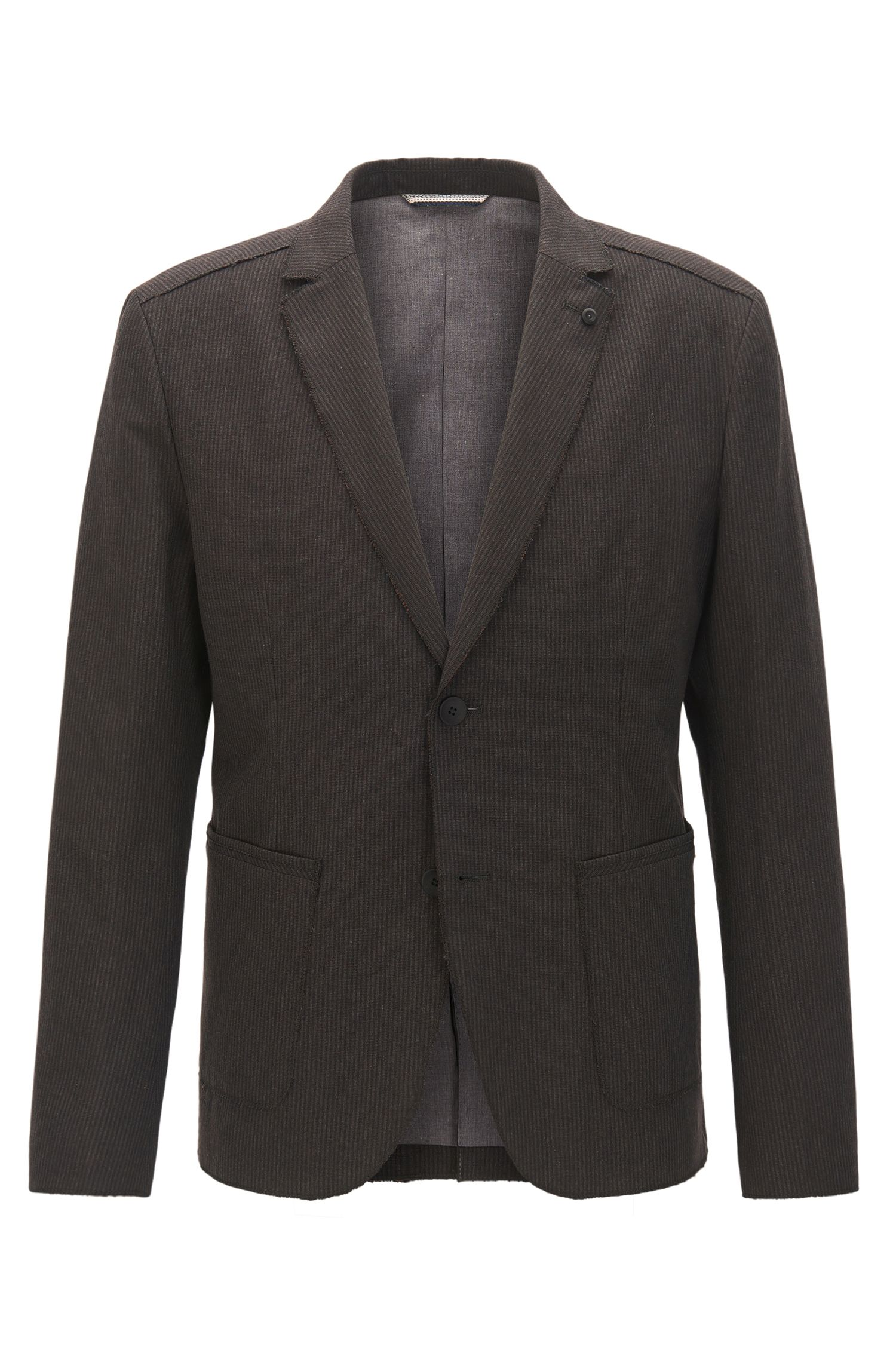 Slim-fit striped jacket in Italian fabric with raw edges