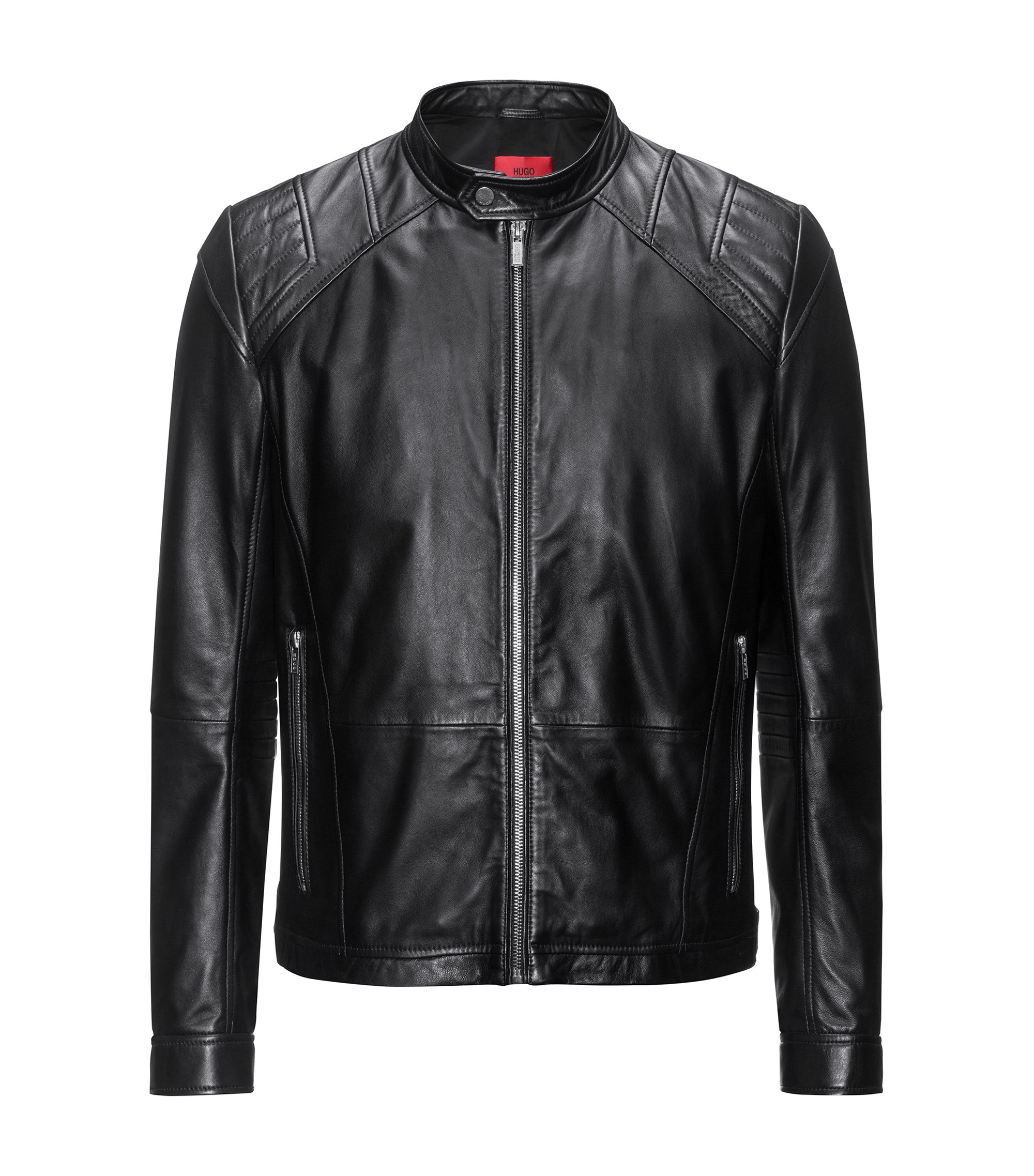Leather jacket in a slim fit, Black