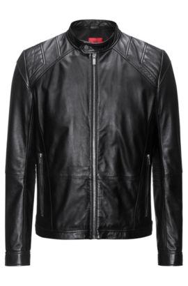 Slim-Fit Jacke aus Leder, Schwarz