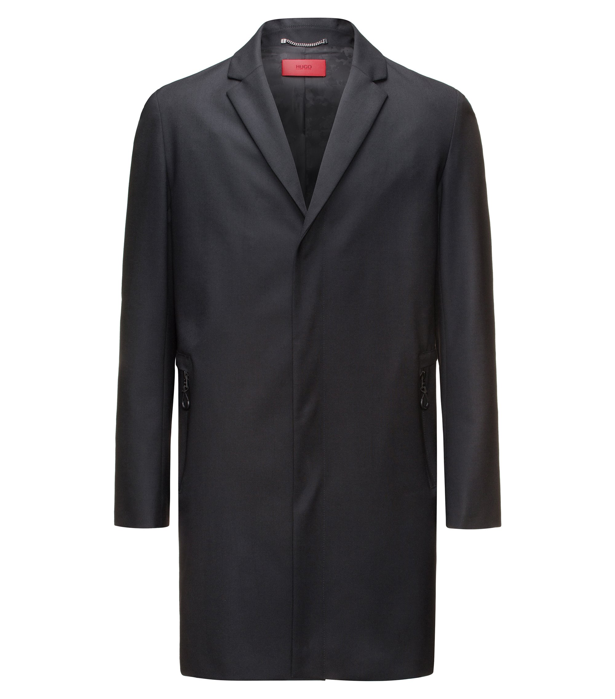 Slim-fit wool-blend coat with zipped pockets, Black
