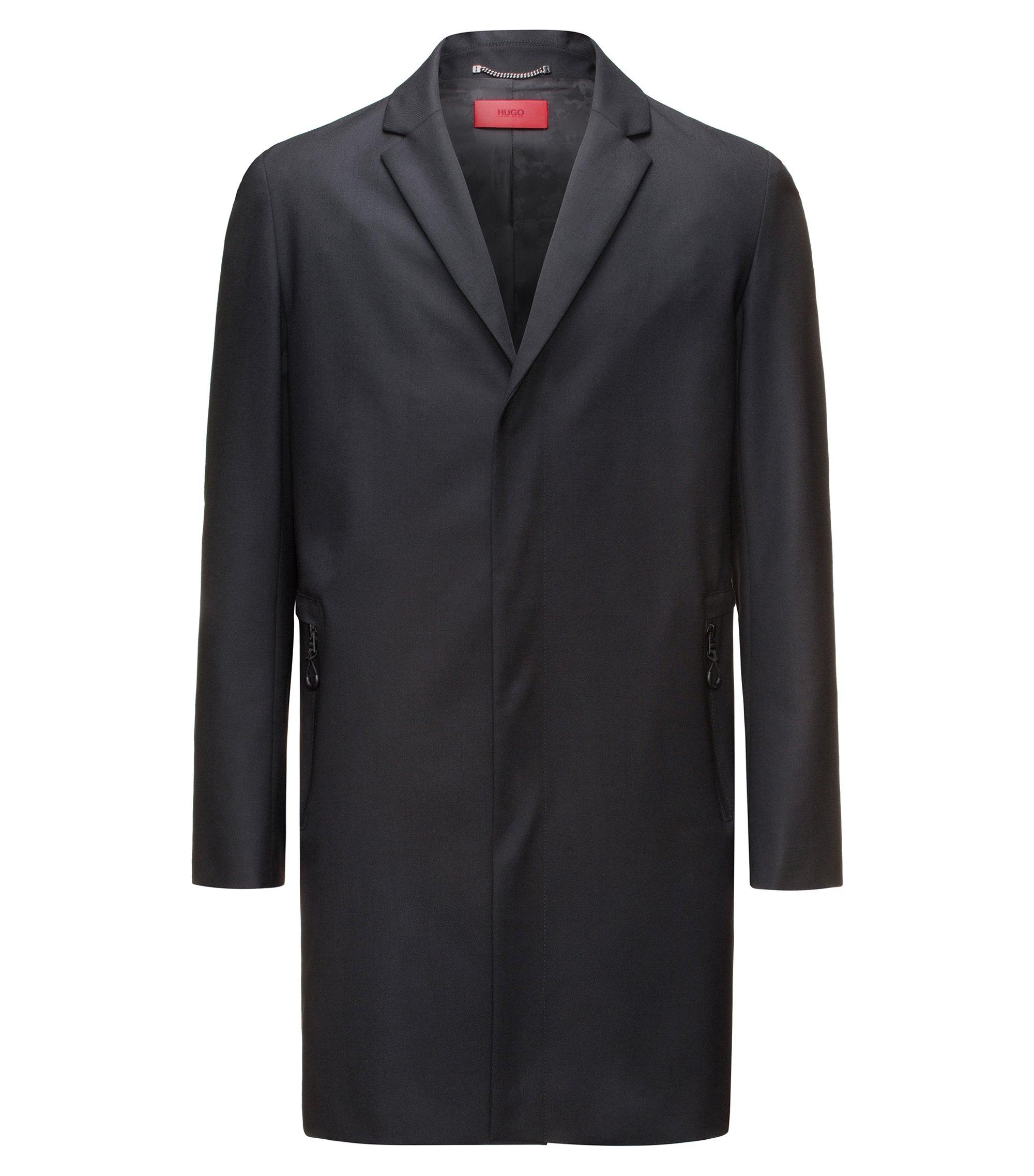 Abrigo slim fit en mezcla de lana con cremallera en los bolsillos, Negro