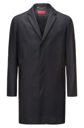 Cappotto slim fit in misto lana con tasche con zip, Nero