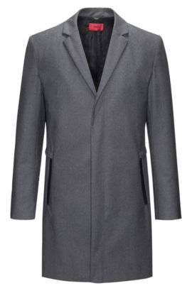Slim-fit wool-blend coat with zipped pockets, Grey