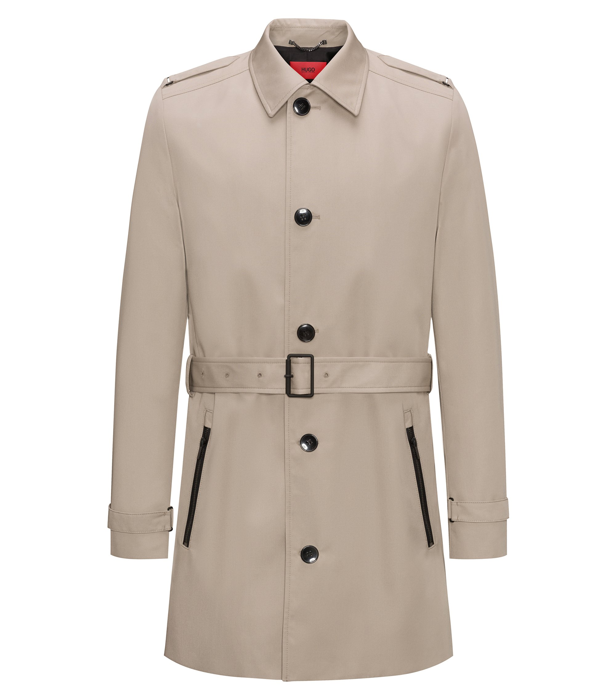 Middellange slim-fit trenchcoat van waterafstotend materiaal, Beige