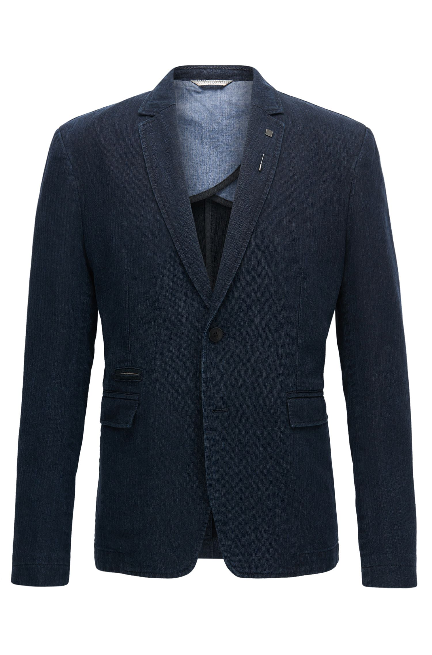 Slim-fit jacket in a mélange cotton blend