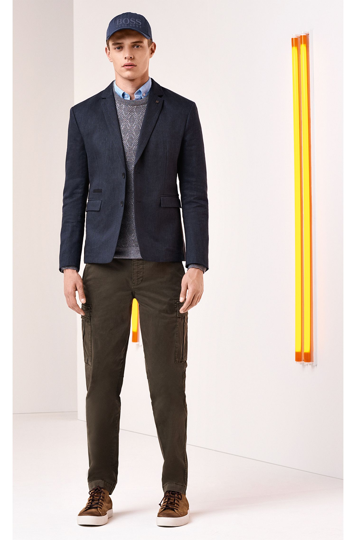 Giacca slim fit in misto cotone mélange