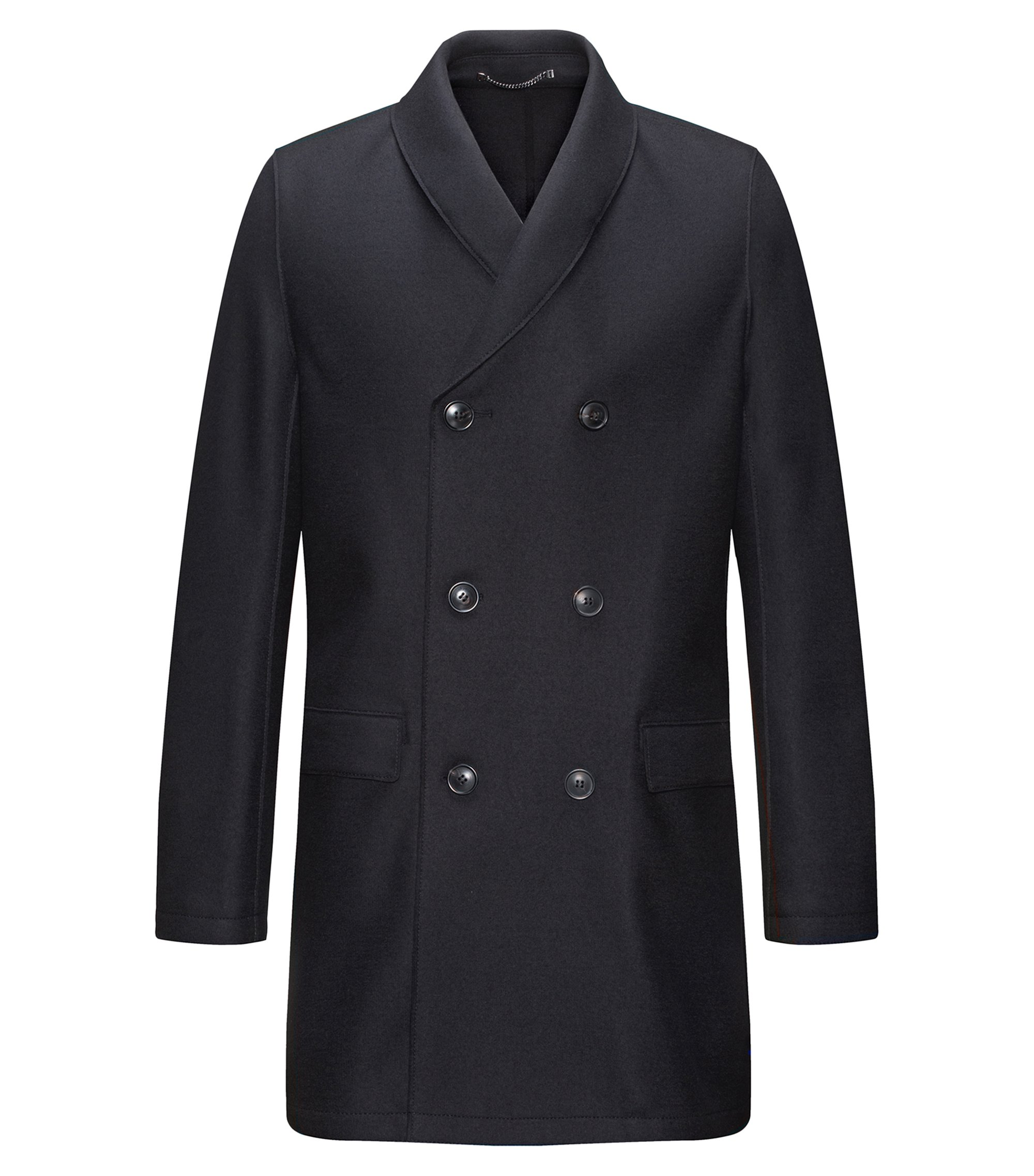 Regular-fit double-breasted shawl-collar coat in wool-blend, Dark Blue
