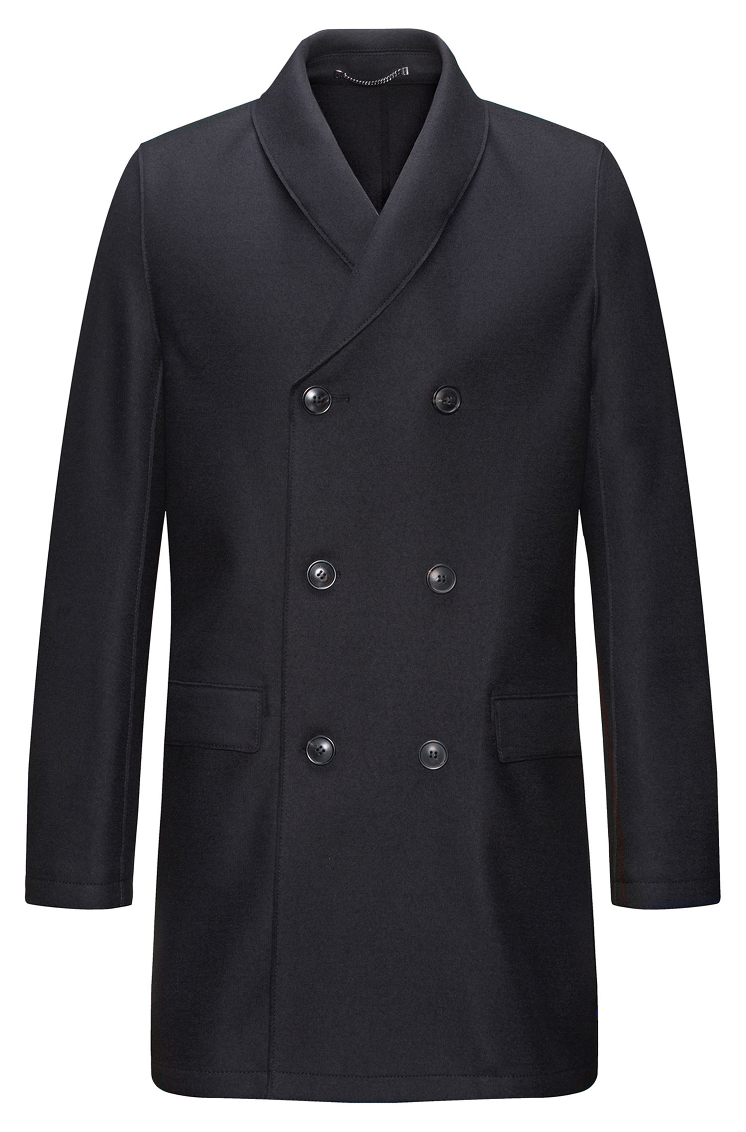 Cappotto a doppiopetto regular fit in misto lana con collo a scialle