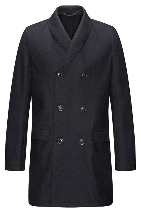 fa2eea50658 Zweireihiger Regular-Fit Mantel aus Schurwoll-Mix mit Kaschmir mit  Schalkragen