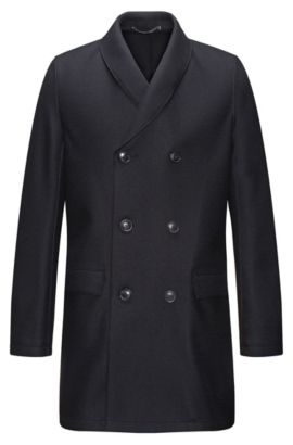 Cappotto a doppiopetto regular fit in misto lana con collo a scialle, Blu scuro