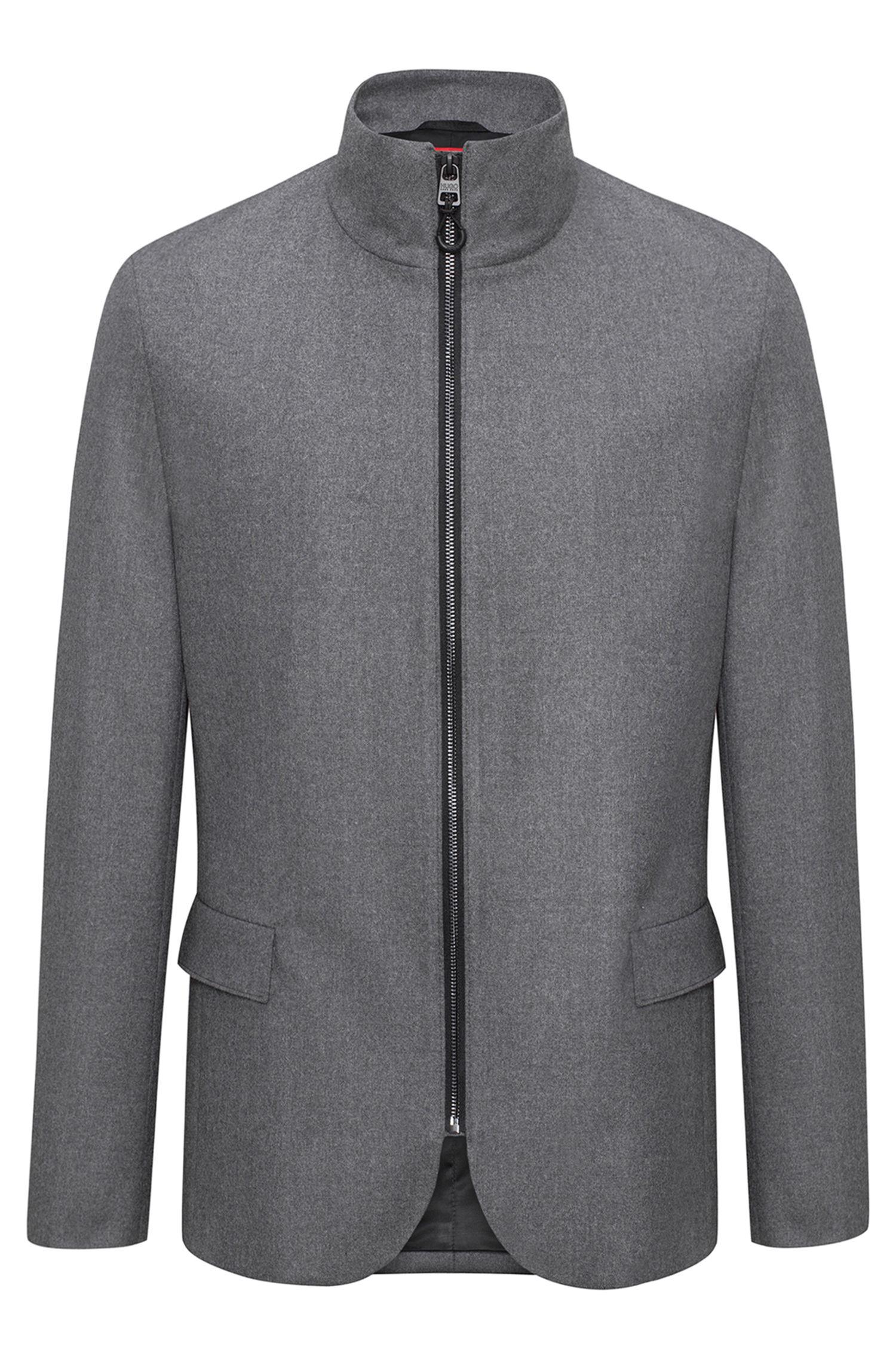Regular-Fit Jacke aus elastischem Woll-Mix mit Reißverschluss