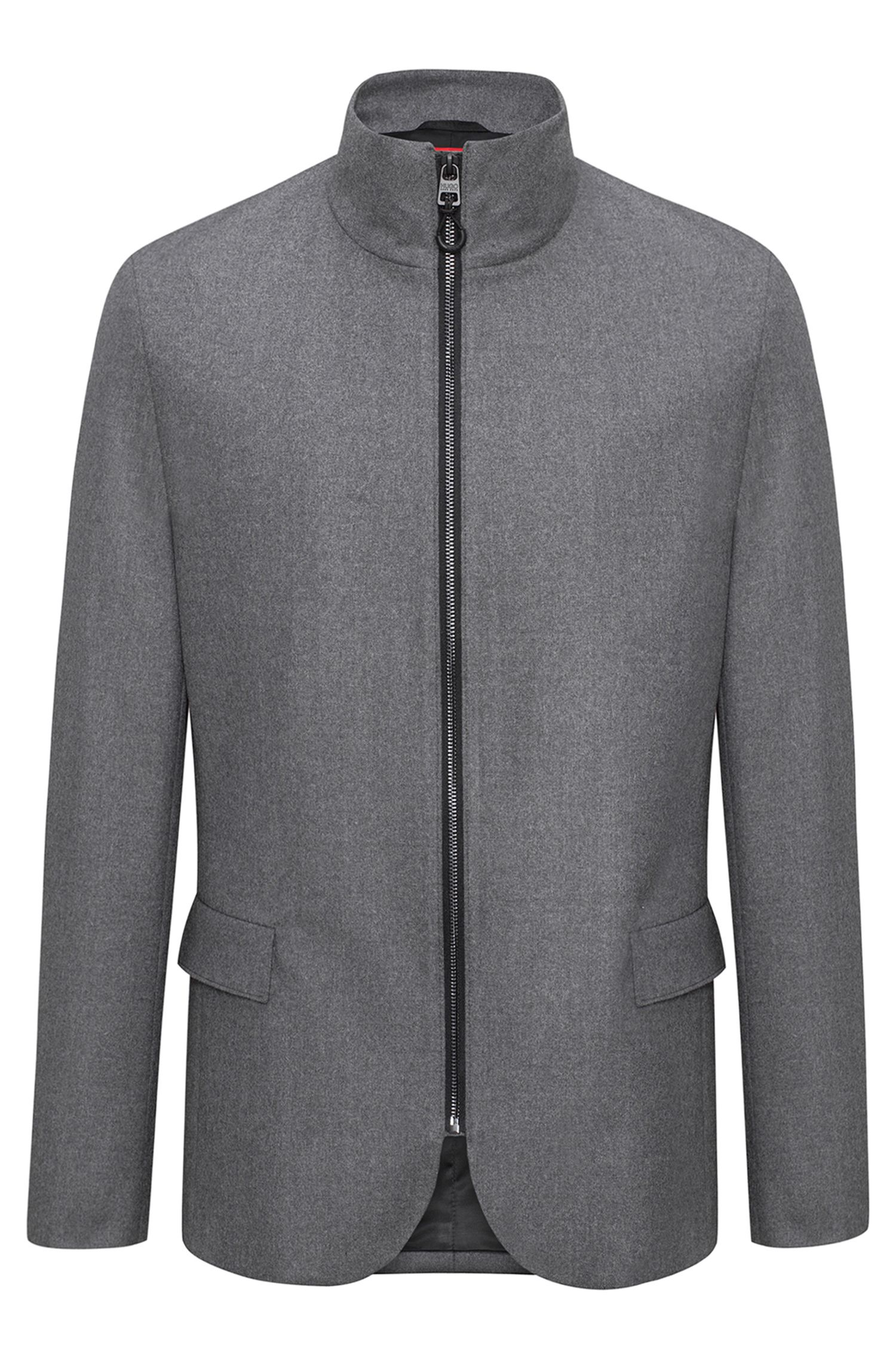 Giacca regular fit in misto lana con zip integrale