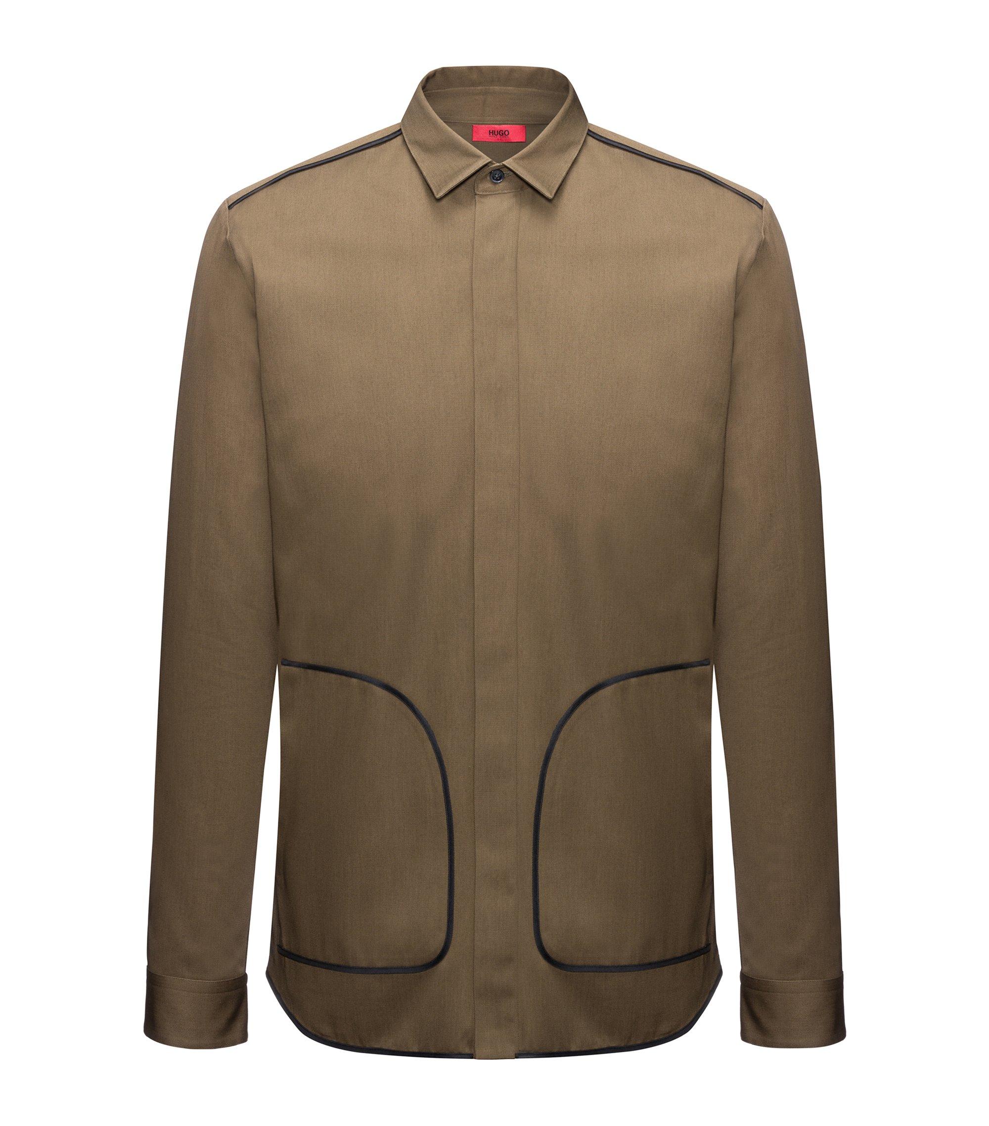 Camicia relaxed fit in cotone con profili a contrasto, Verde scuro