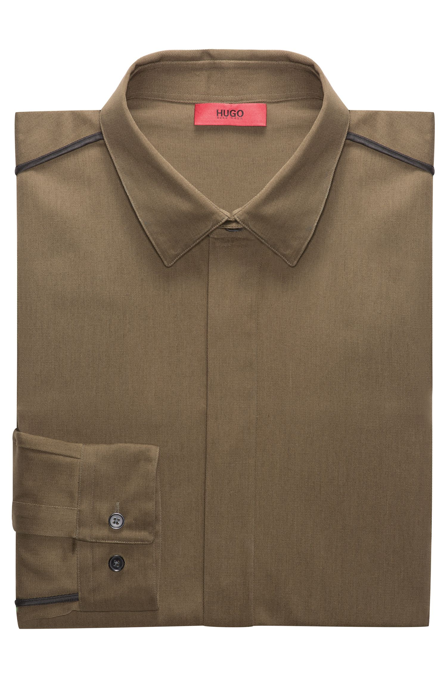 Relaxed-Fit Hemd aus Baumwolle mit kontrastfarbenen Paspeln
