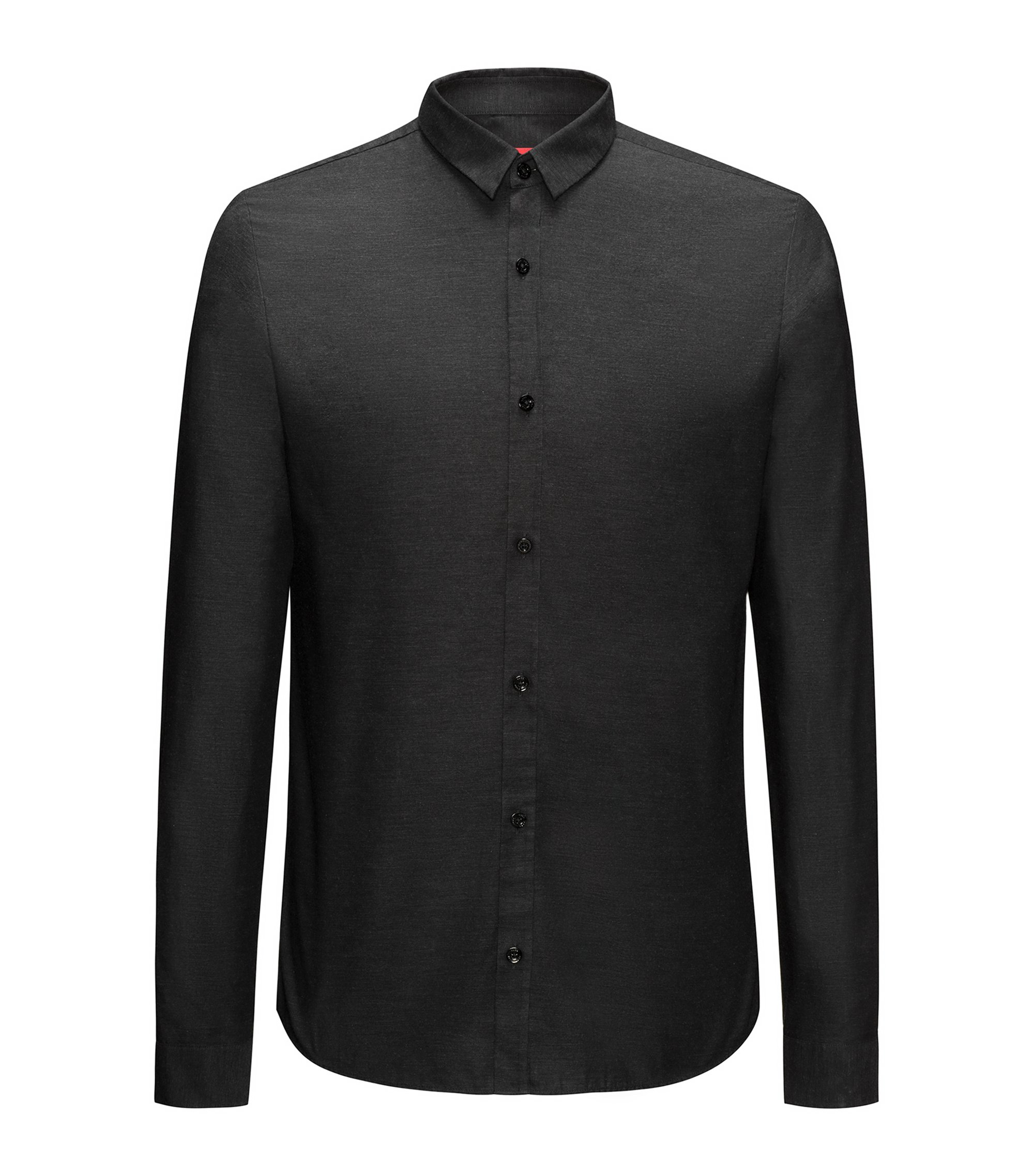 Camicia extra slim fit in cotone oxford, Nero
