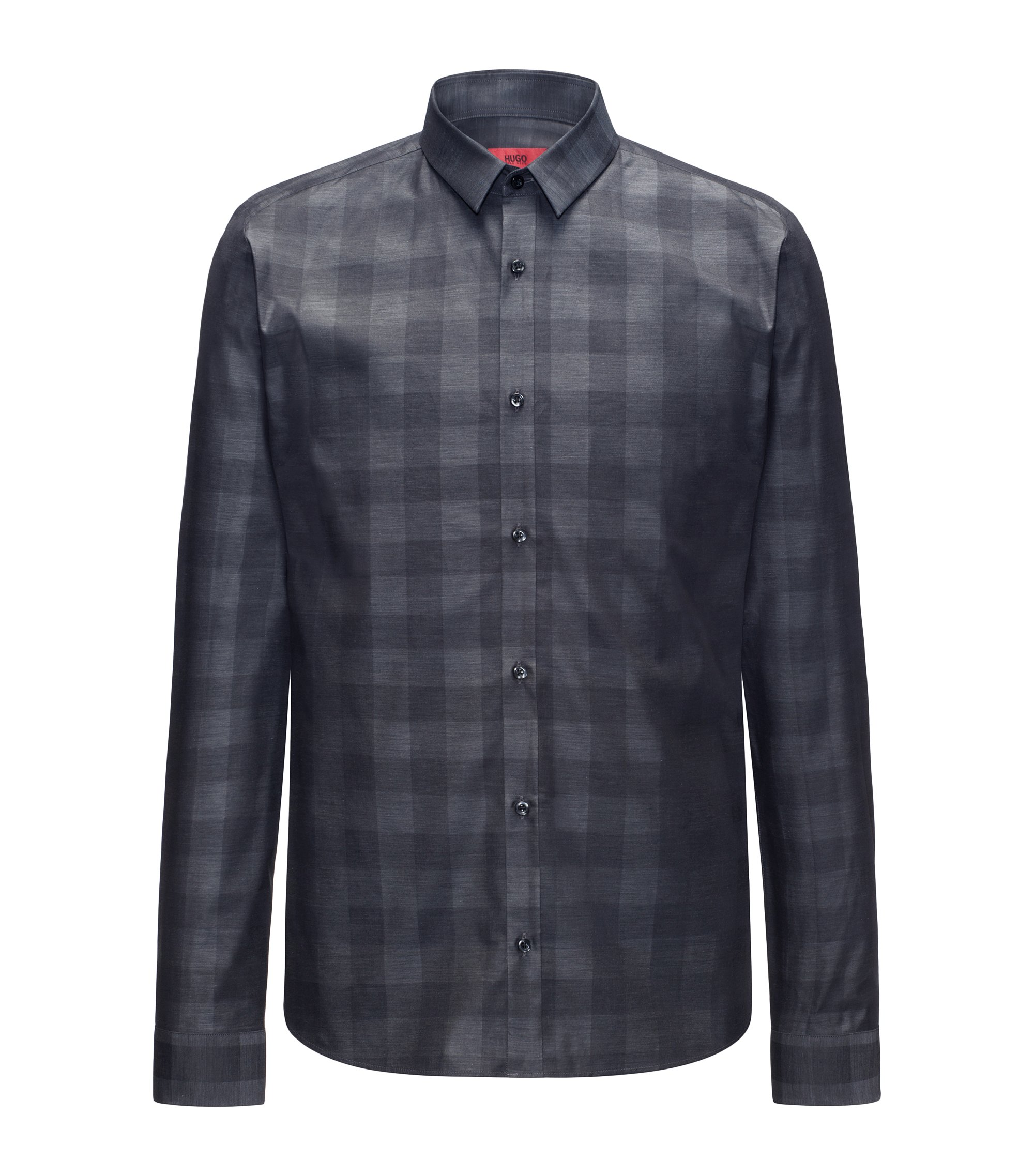 Slim-fit cotton shirt in a Vichy check, Black