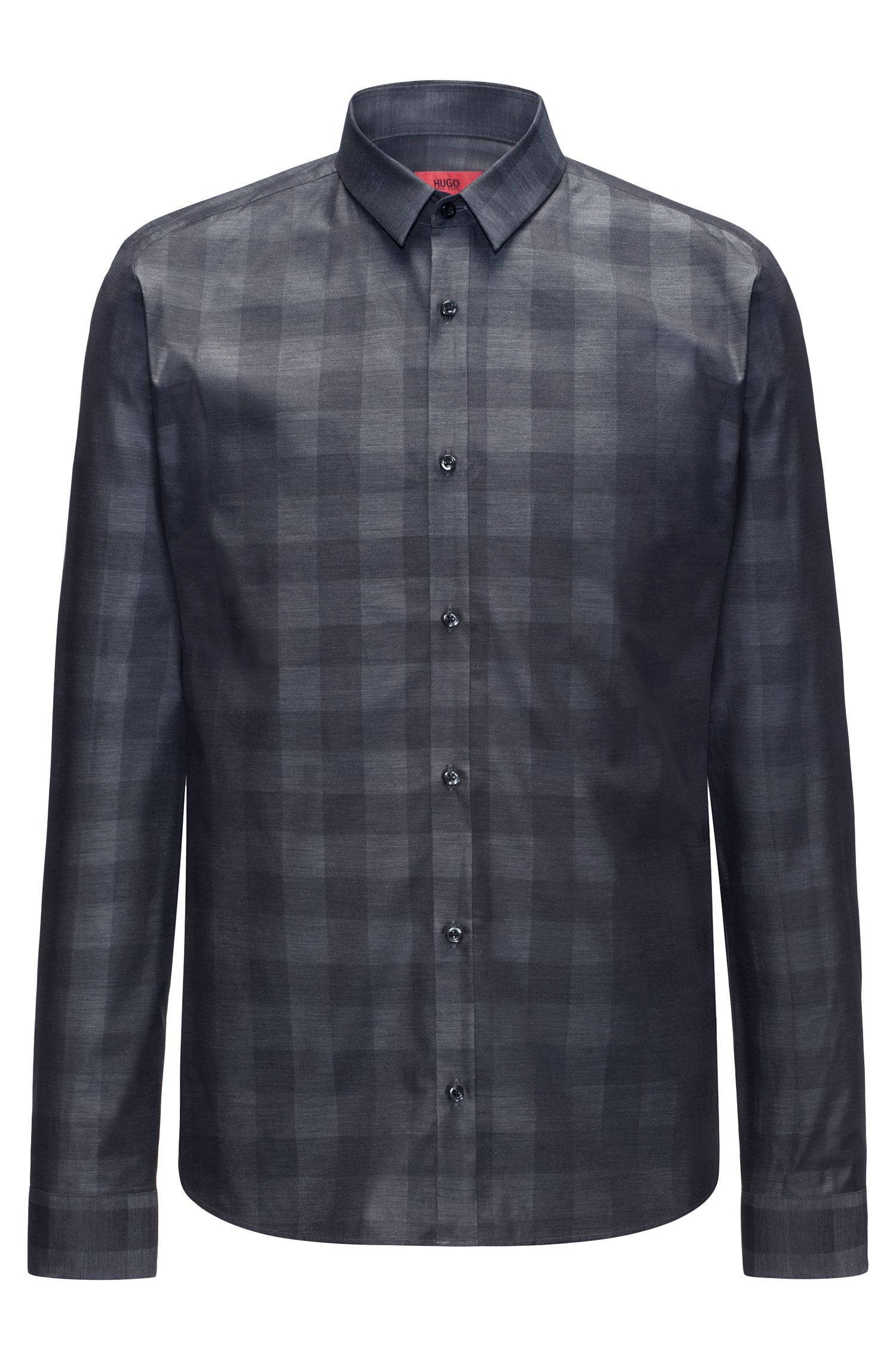 Slim-fit cotton shirt in a Vichy check