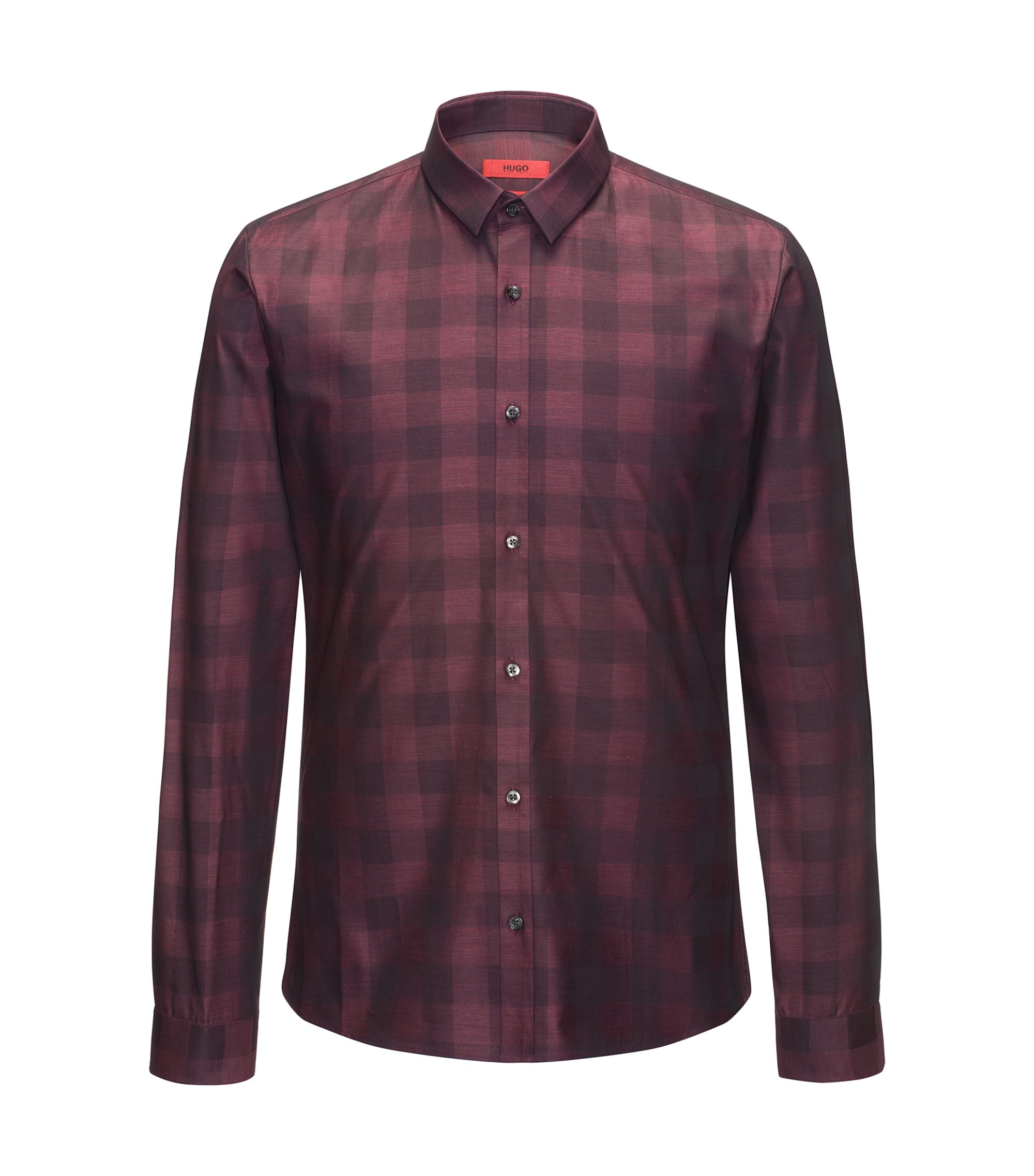 Extra slim-fit cotton shirt in a Vichy check, Dark Red