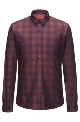 Slim-fit cotton shirt in a Vichy check, Dark Red