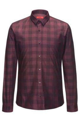 Slim-Fit Hemd aus Baumwolle mit Vichy-Karo, Dunkelrot
