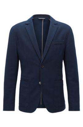 Slim-fit jacket in washed cotton, Dark Blue