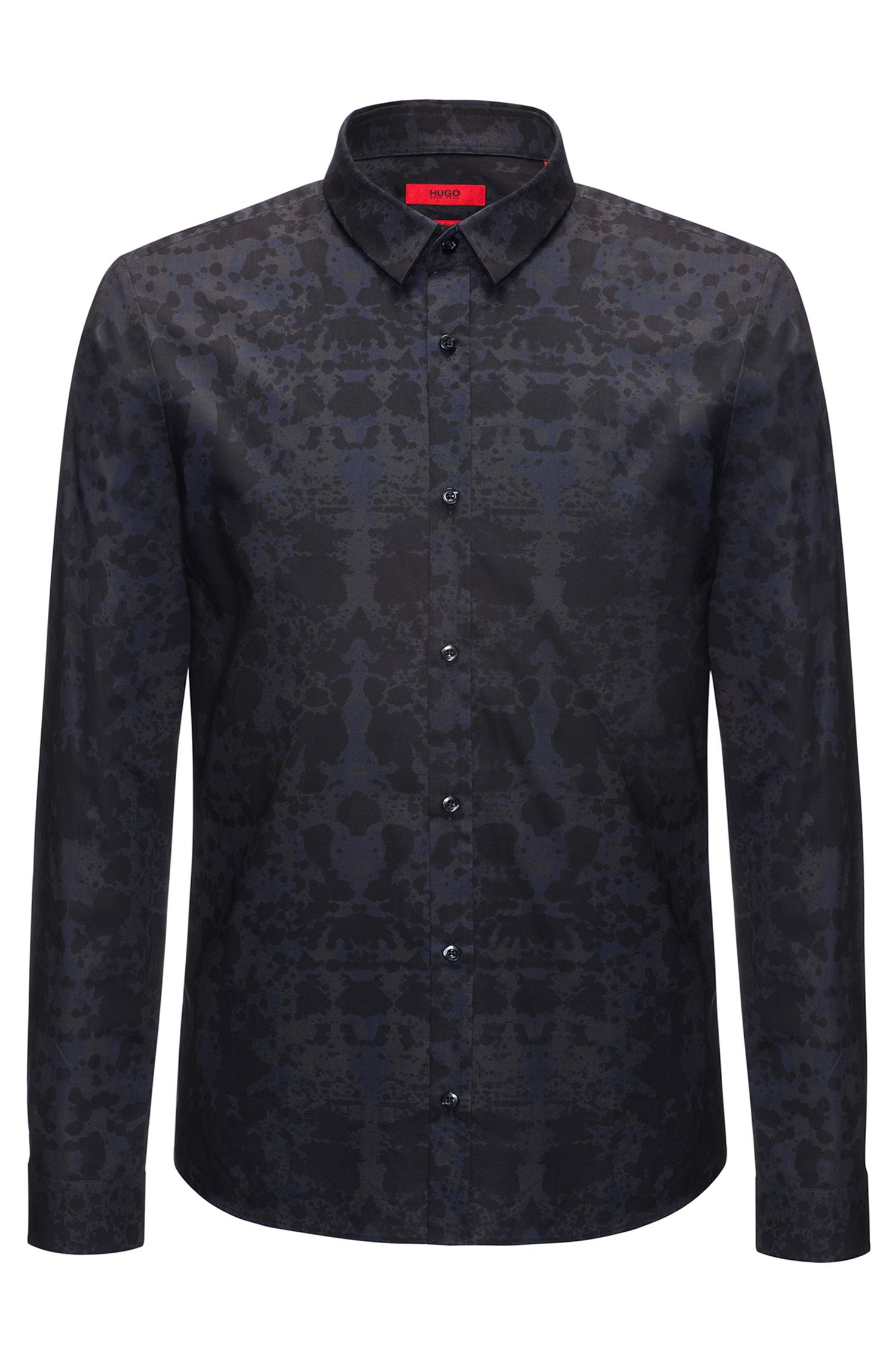 Slim-fit cotton shirt with Rorschach print