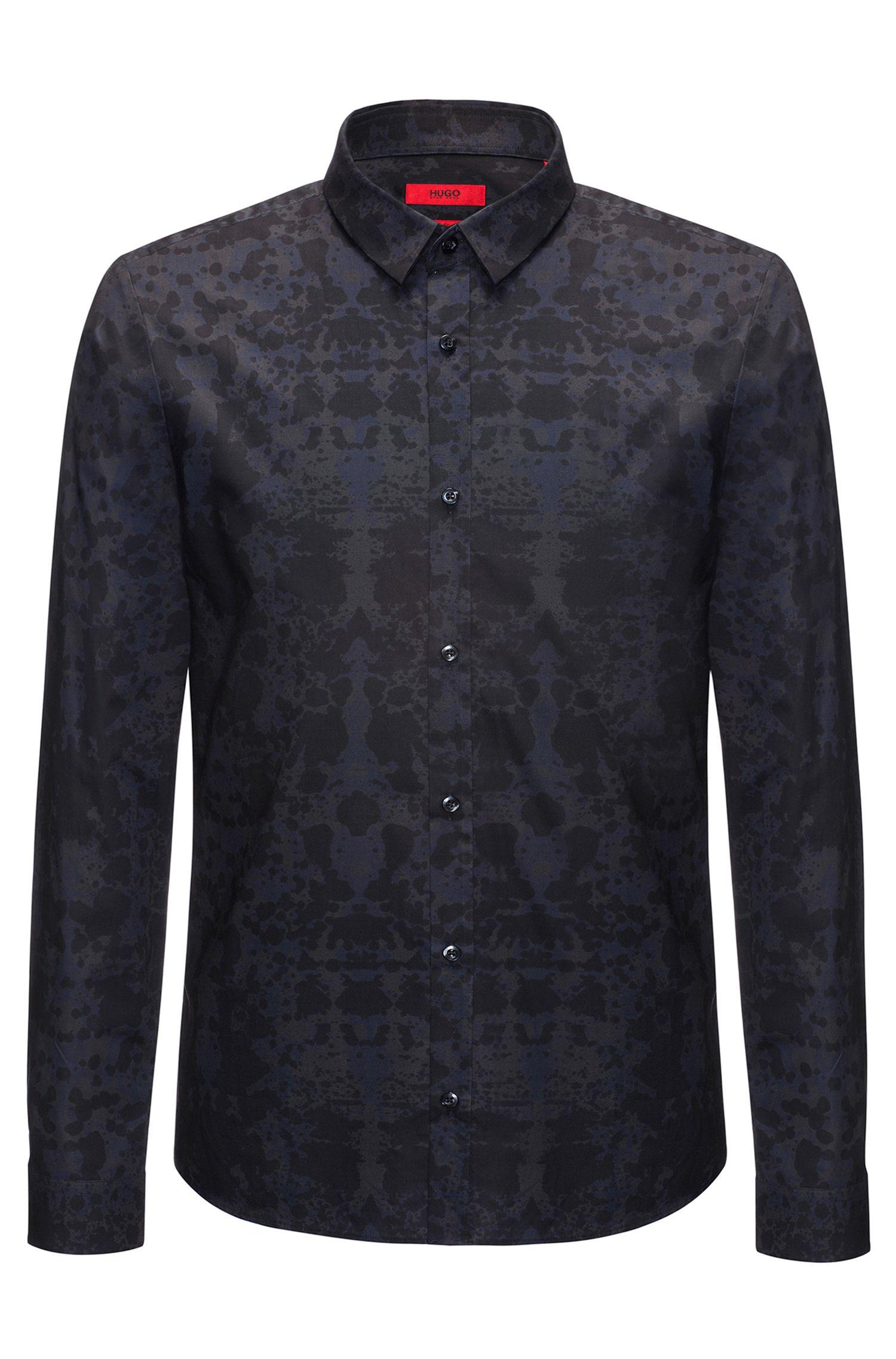 Slim-fit overhemd van katoen met rorschachprint
