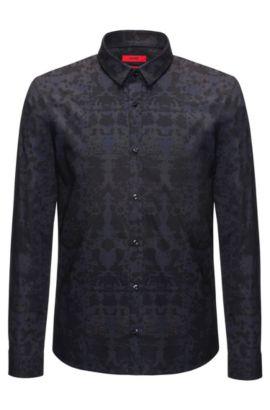 Slim-fit overhemd van katoen met rorschachprint, Donkerblauw