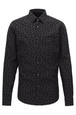 Camicia regular fit in cotone con motivo Paisley a stampa flock, Nero